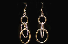 Silver and Gold Dropped Hoop Earrings