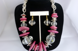 Pink Baubles Necklace & Earring Set